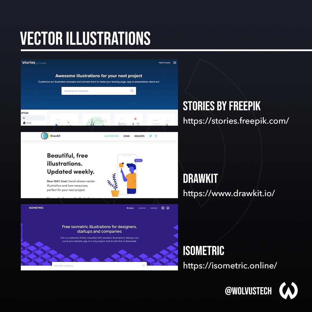 Useful design websites for vector illustrations