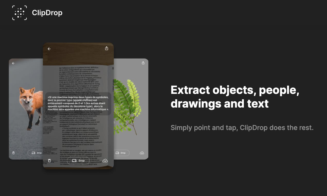 ClipDrop - Extract objects, people, drawings and text