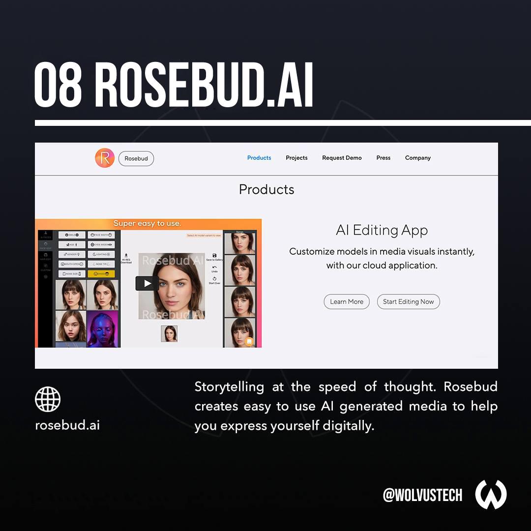 Useful AI tools for designers - Rosebud.ai
