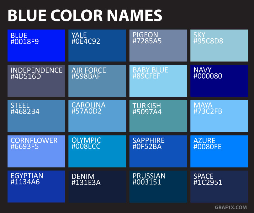 Blue Color Names & Shades