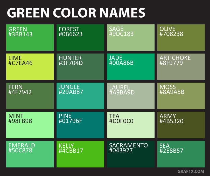 Green Color Names & Shades