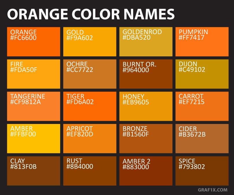 Orange Color Names & Shades