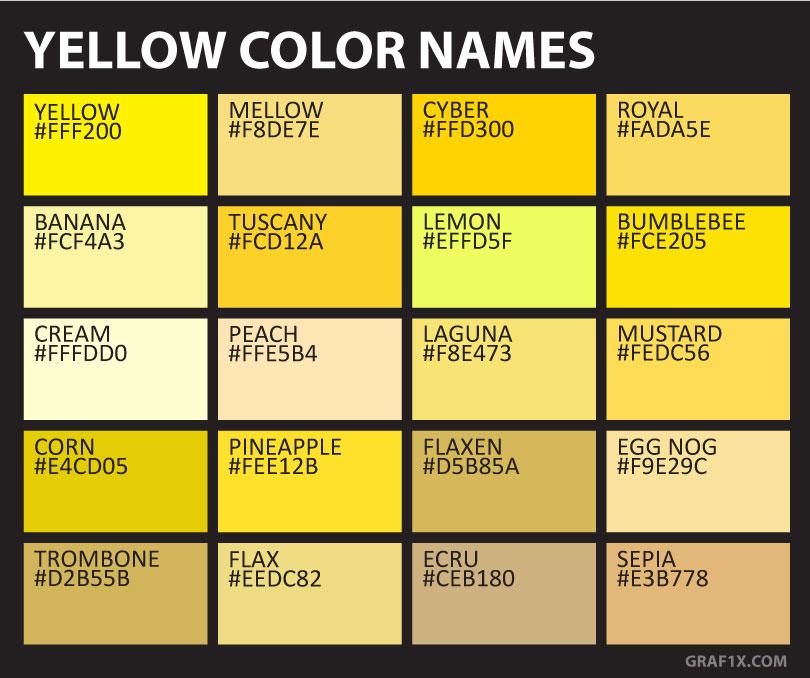 Yellow Color Names & Shades