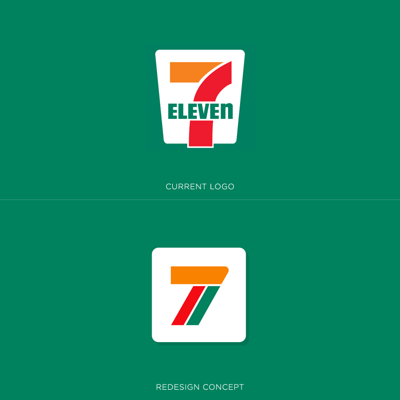 Famous logos redesigned & rebranded concepts - 7-Eleven