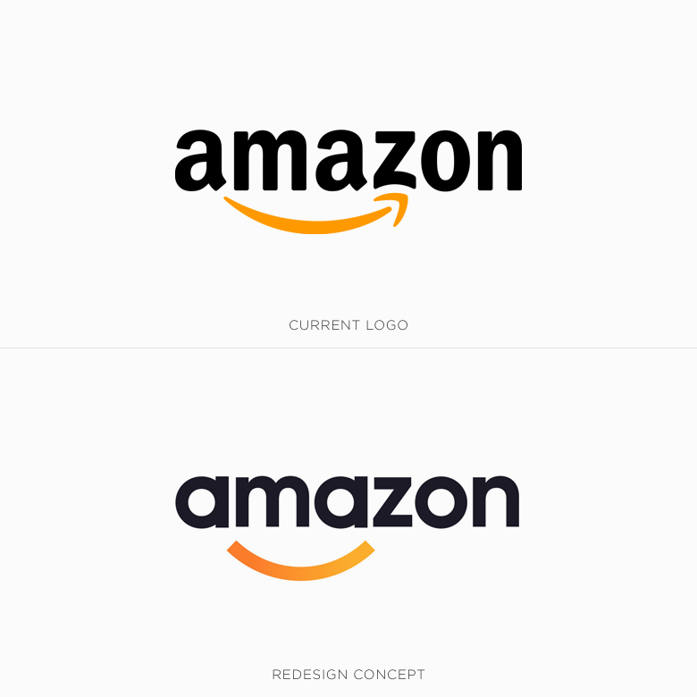 Famous logos redesigned & rebranded concepts - Amazon
