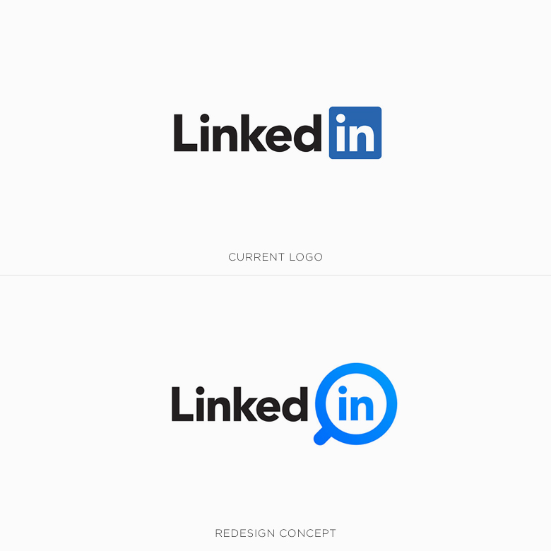 Famous logos redesigned & rebranded concepts - LinkedIn