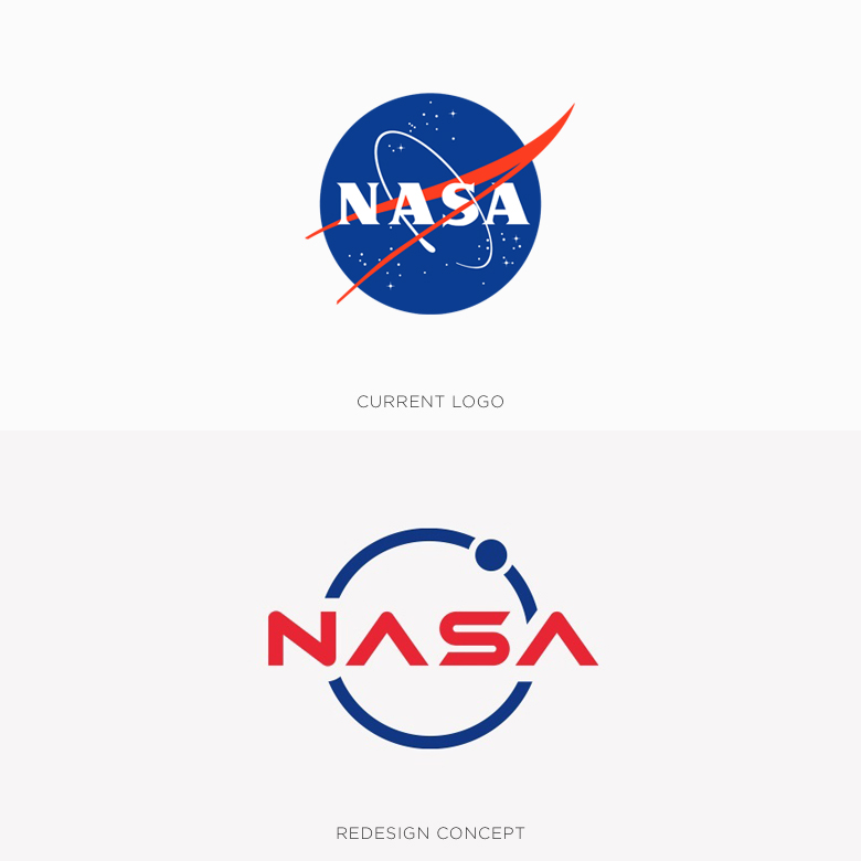 Famous logos redesigned & rebranded concepts - NASA