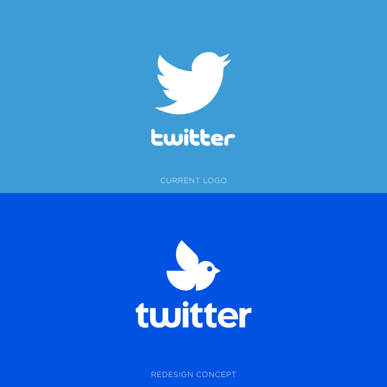 Famous logos redesigned & rebranded concepts - Twitter
