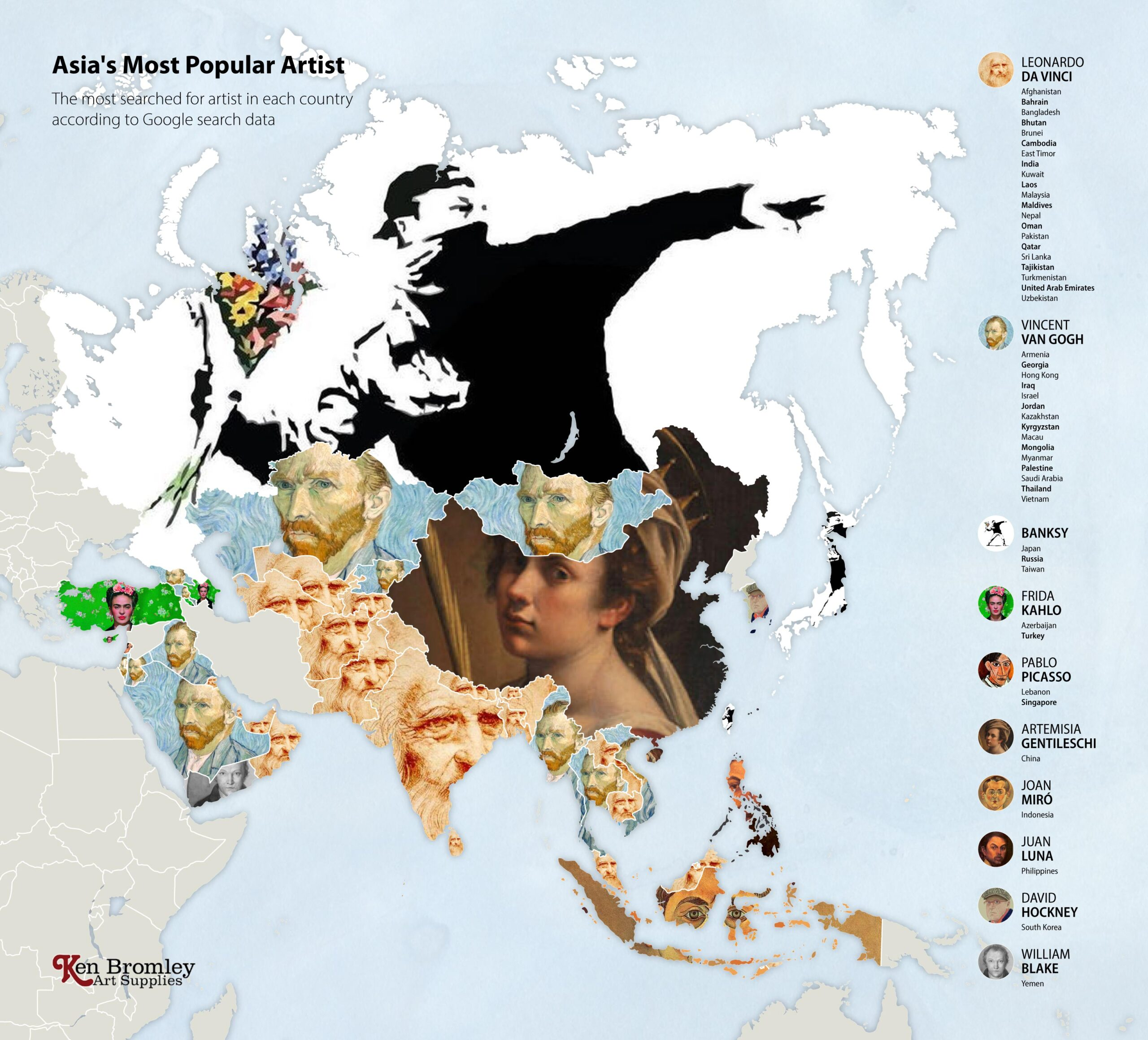 The most popular artists in Asia