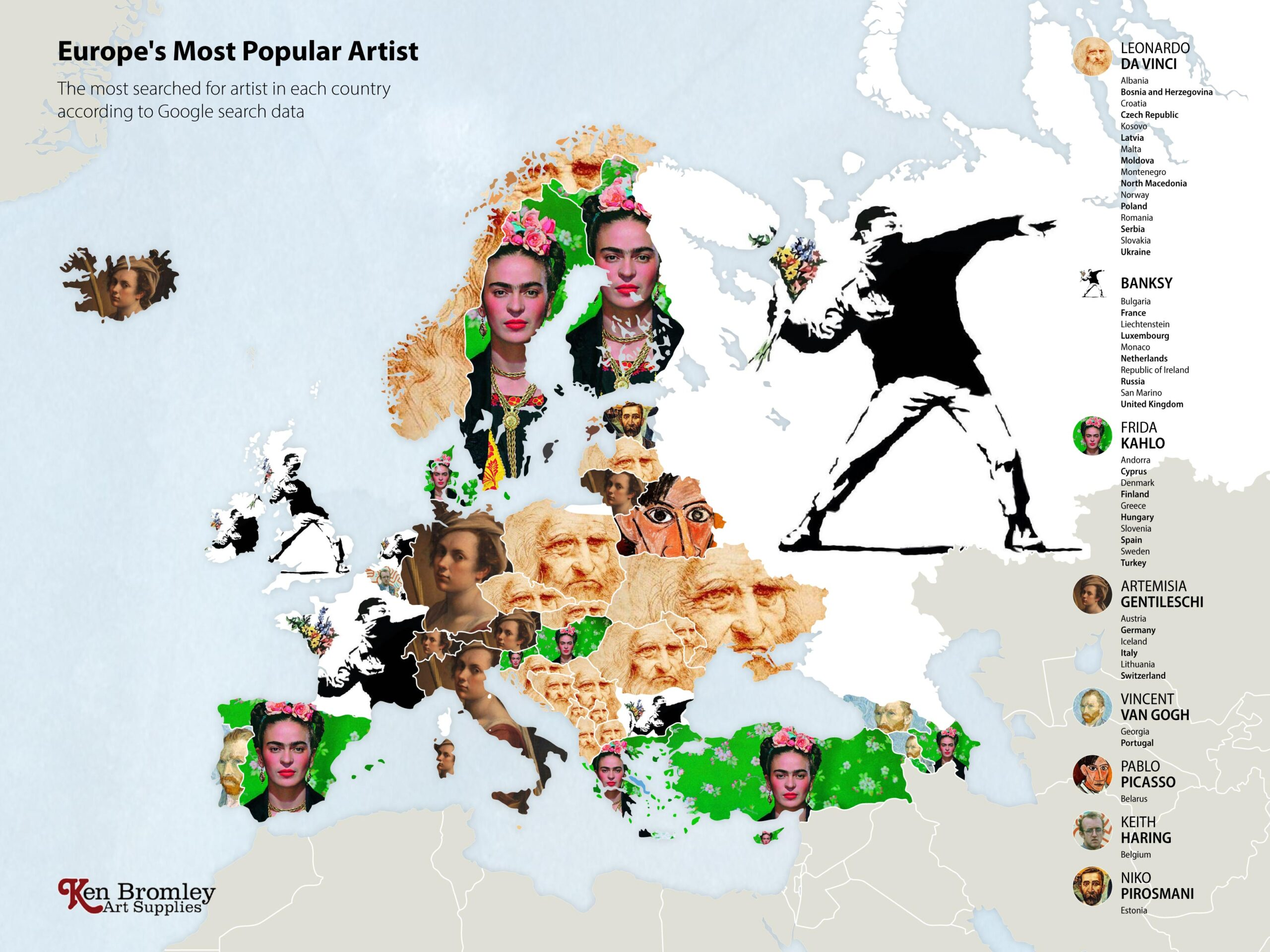 The most popular artists in Europe