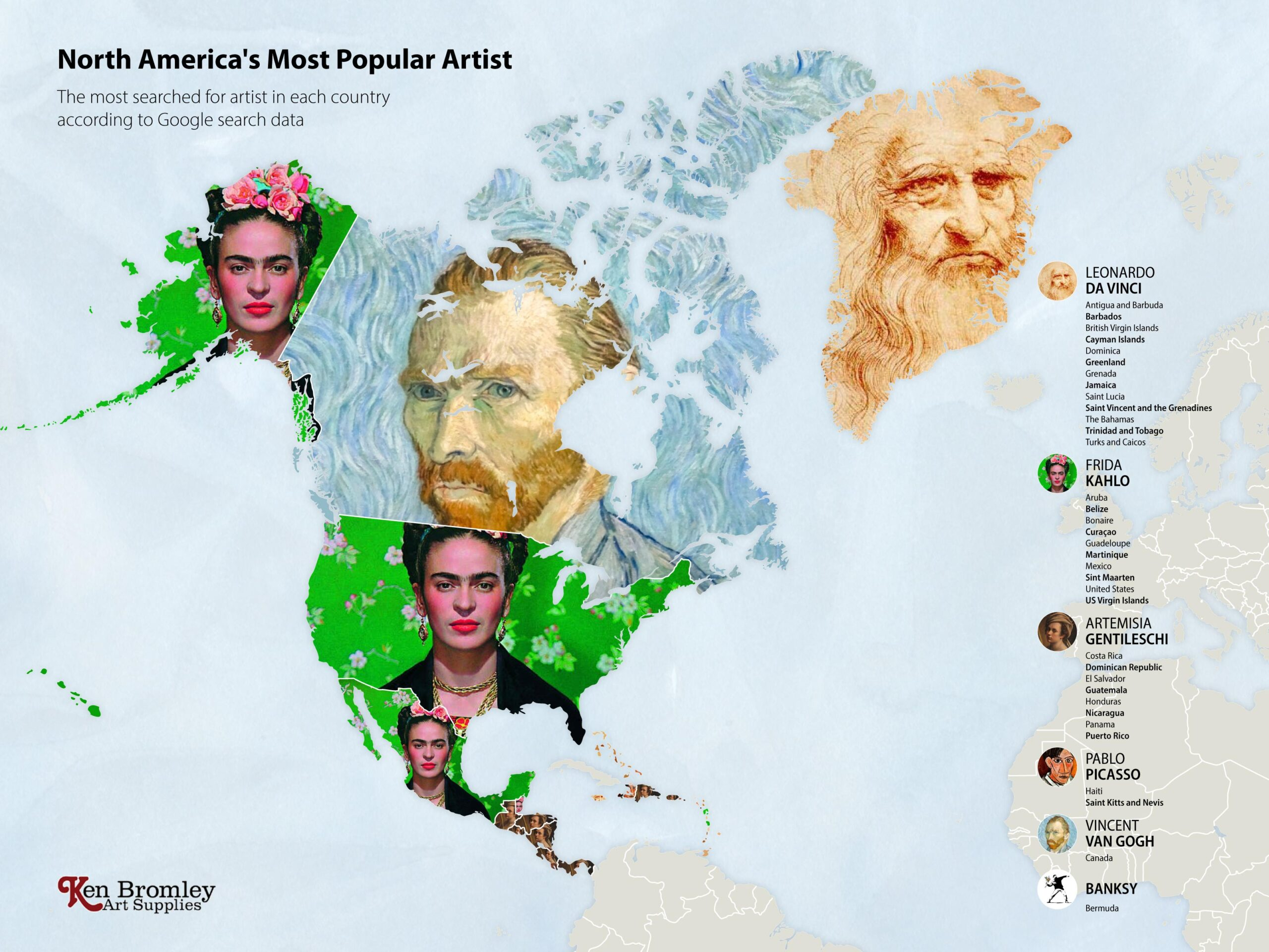 The most popular artists in North America