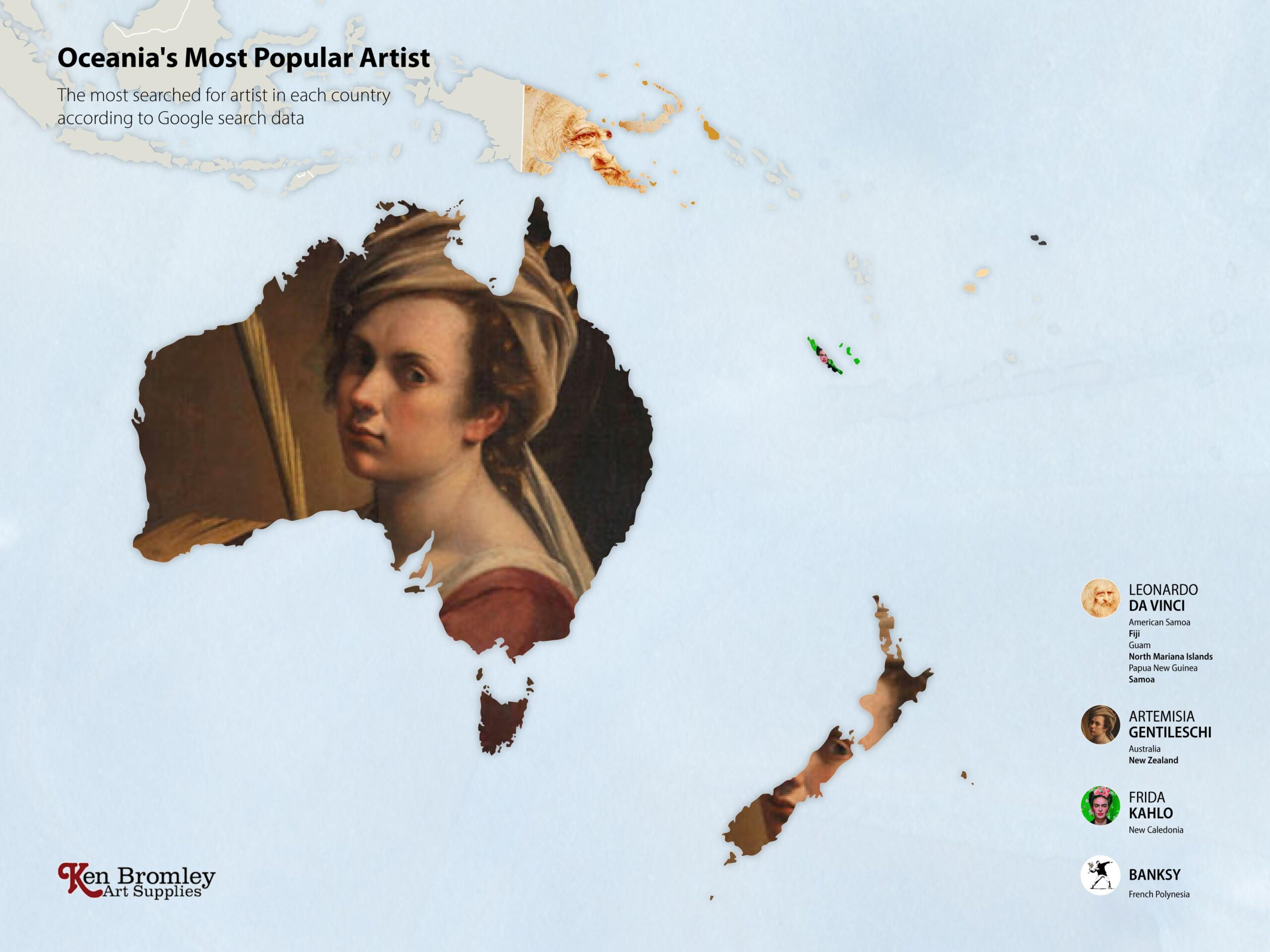 The most popular artists in Oceania