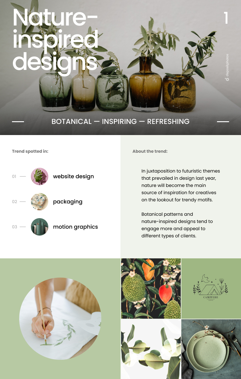 Top 7 Graphic Design Trends For 2021 - Nature-inspired designs
