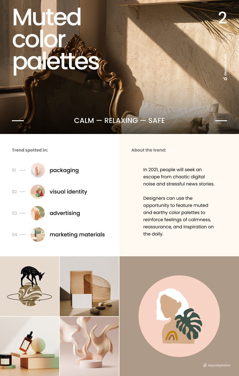 Top 7 Graphic Design Trends For 2021 - Muted color palettes