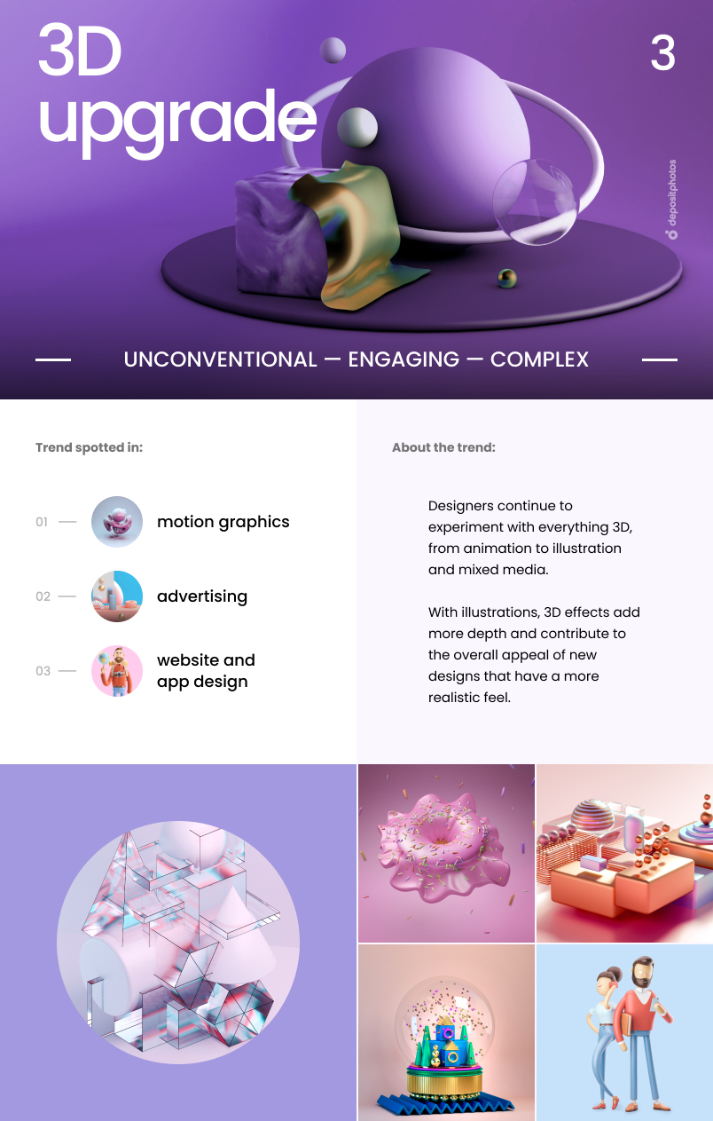 Top 7 Graphic Design Trends For 2021 - 3D upgrade