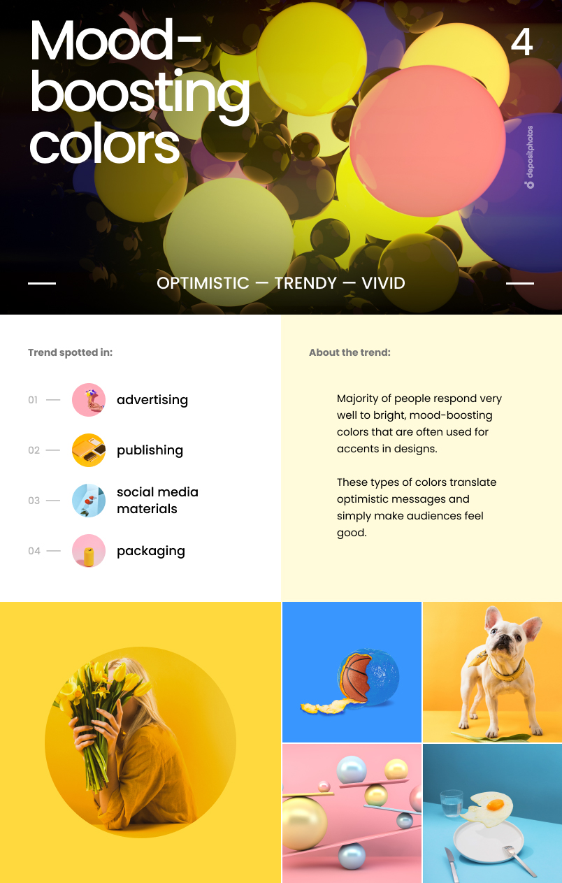Top 7 Graphic Design Trends For 2021 - Mood-boosting colors