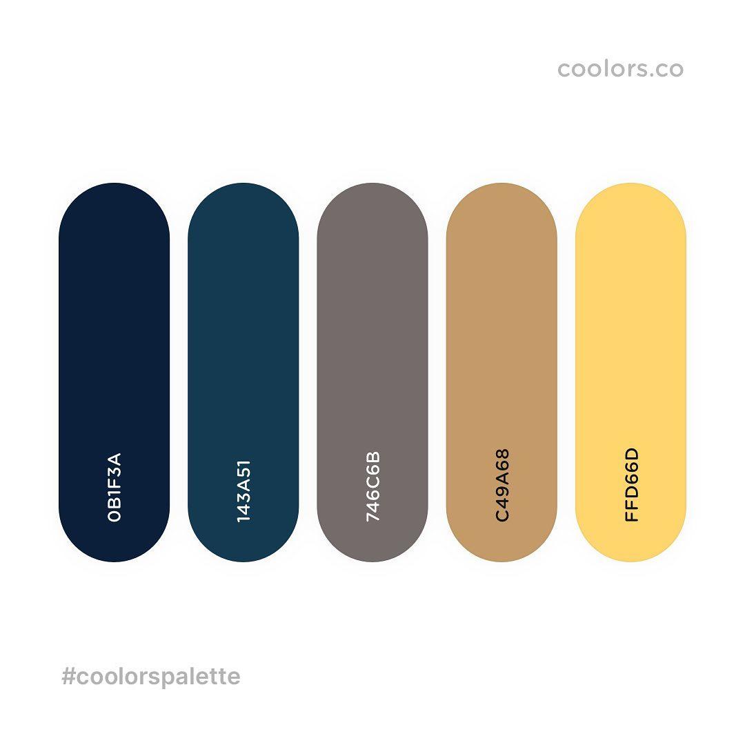 Blue, yellow color palettes, schemes & combinations
