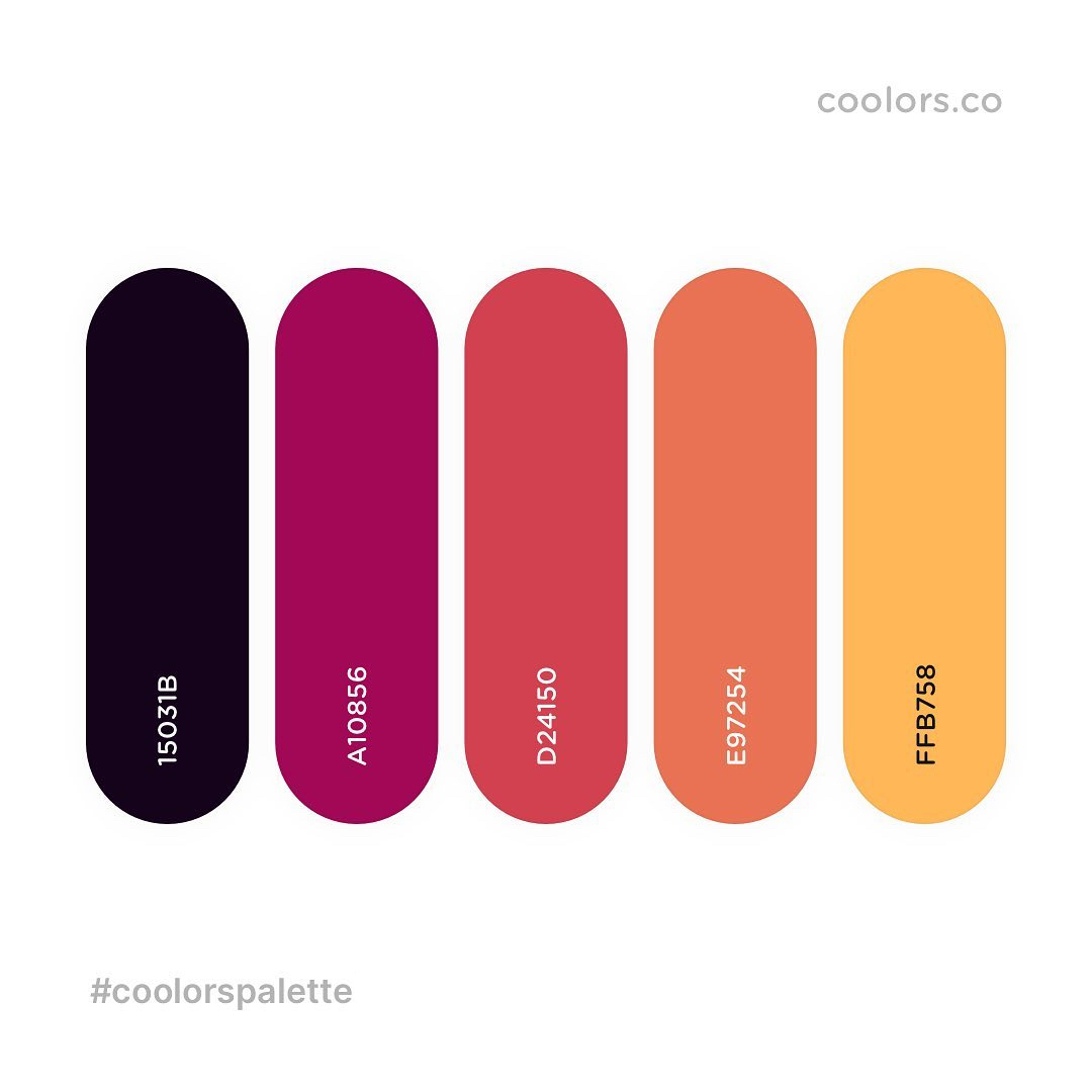 Black, purple, orange, yellow color palettes, schemes & combinations