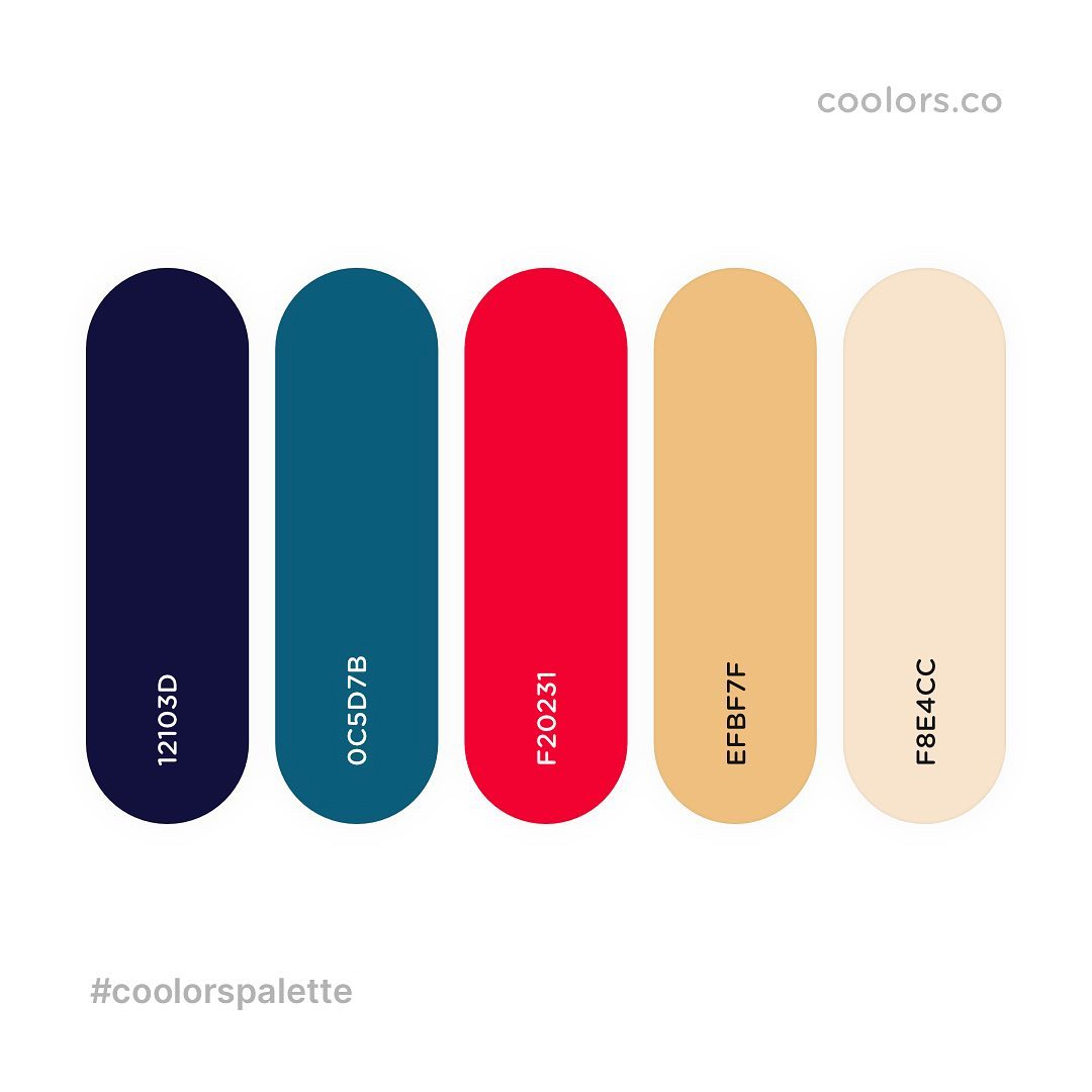 Blue, red, yellow color palettes, schemes & combinations
