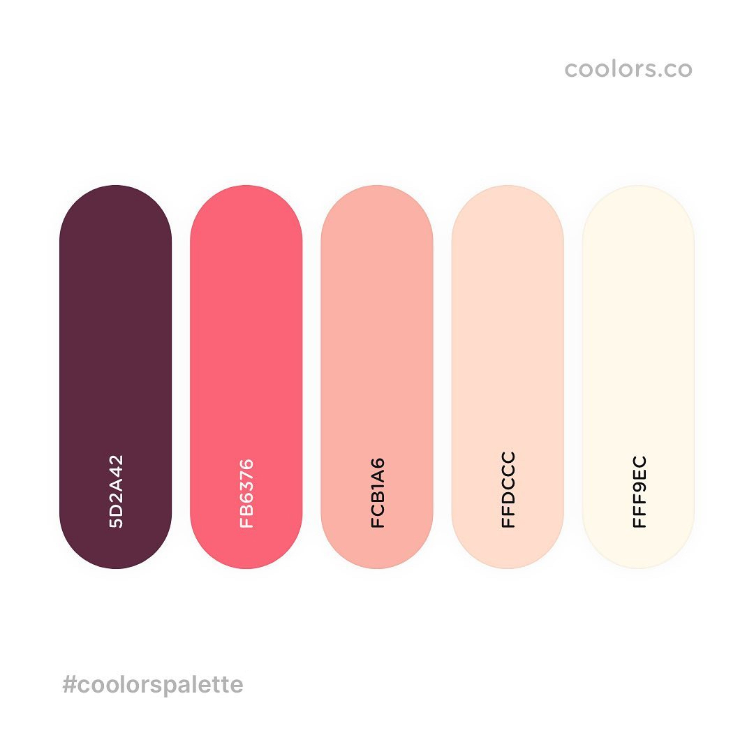 Brown, red, pink, yellow color palettes, schemes & combinations