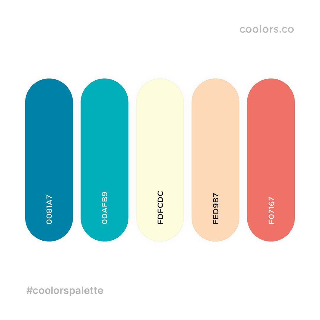 Blue, green, yellow, red color palettes, schemes & combinations