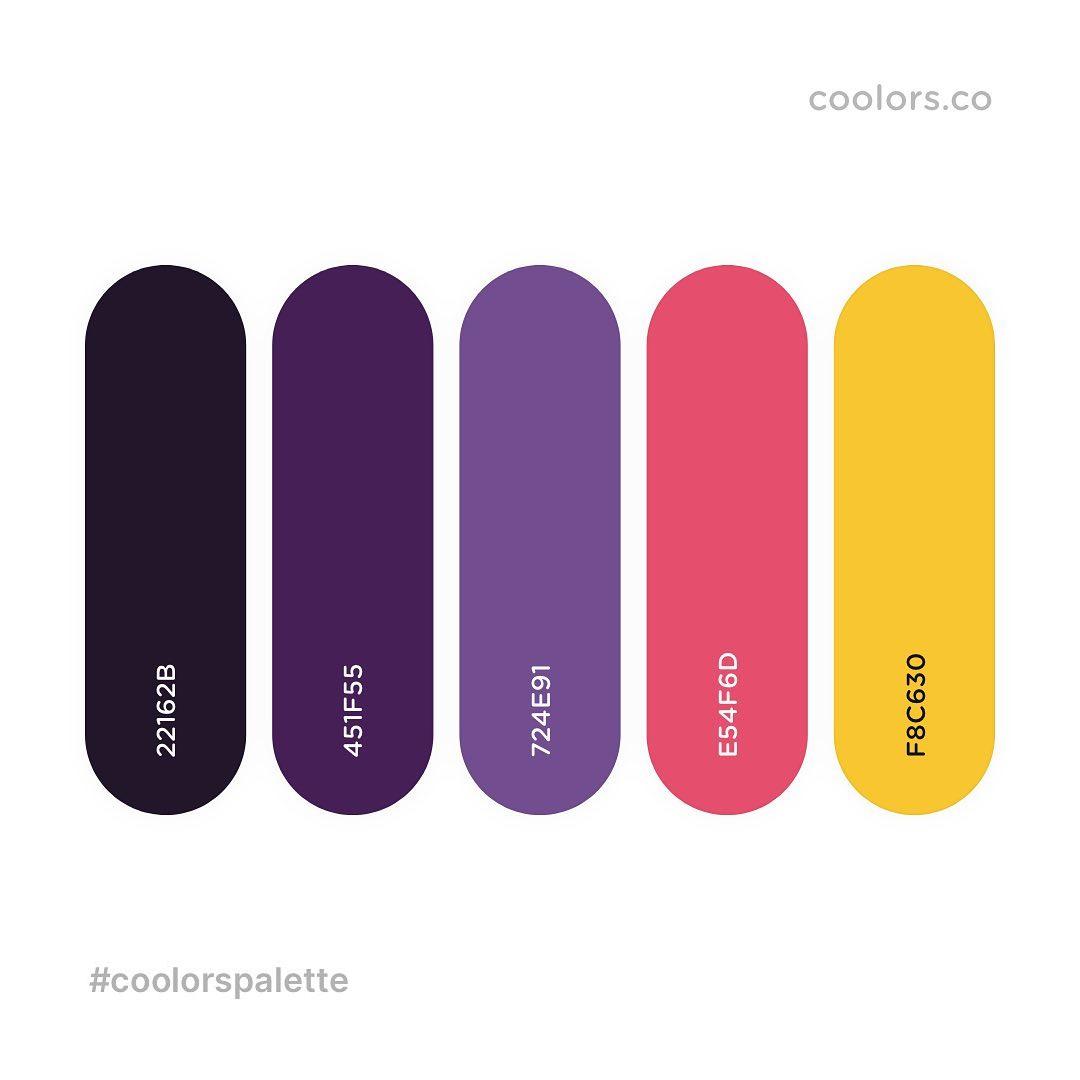 Black, purple, pink, yellow color palettes, schemes & combinations