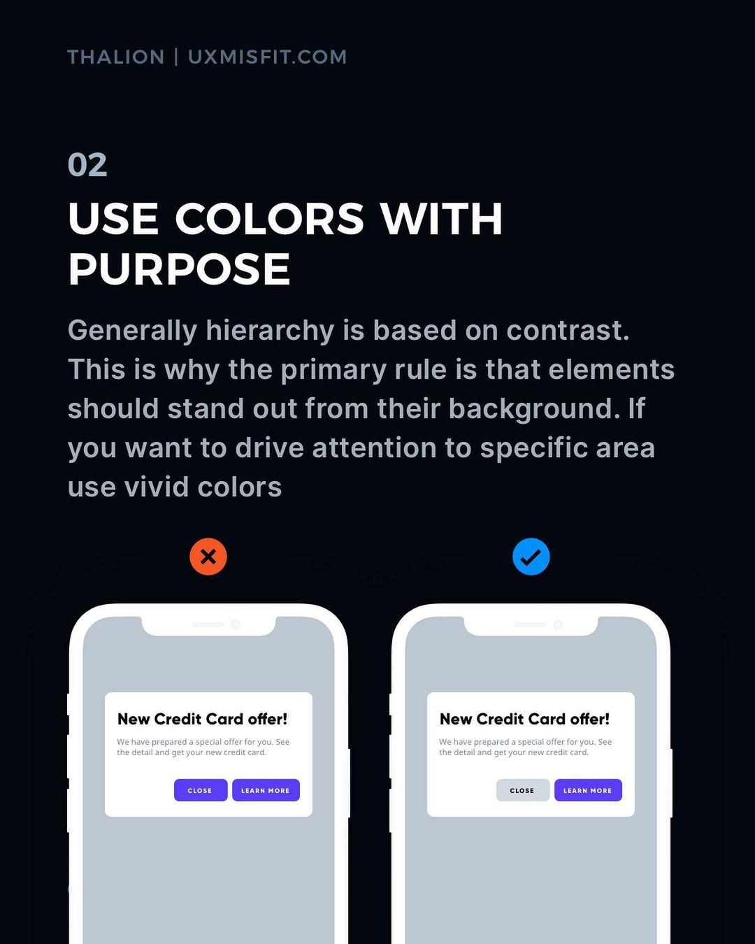 Visual Hierarchy tips - Use colors with purpose