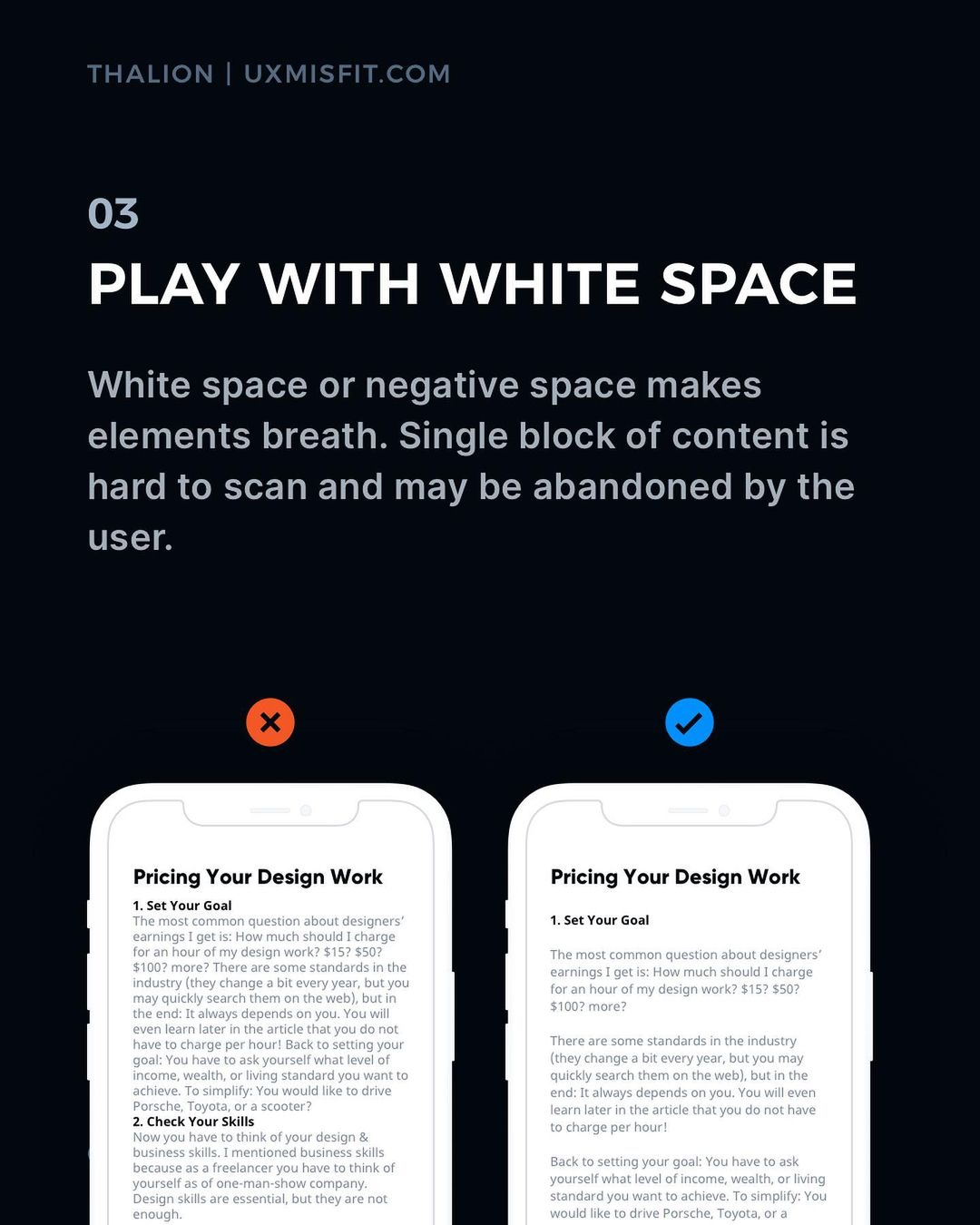 Visual Hierarchy tips - Play with white space