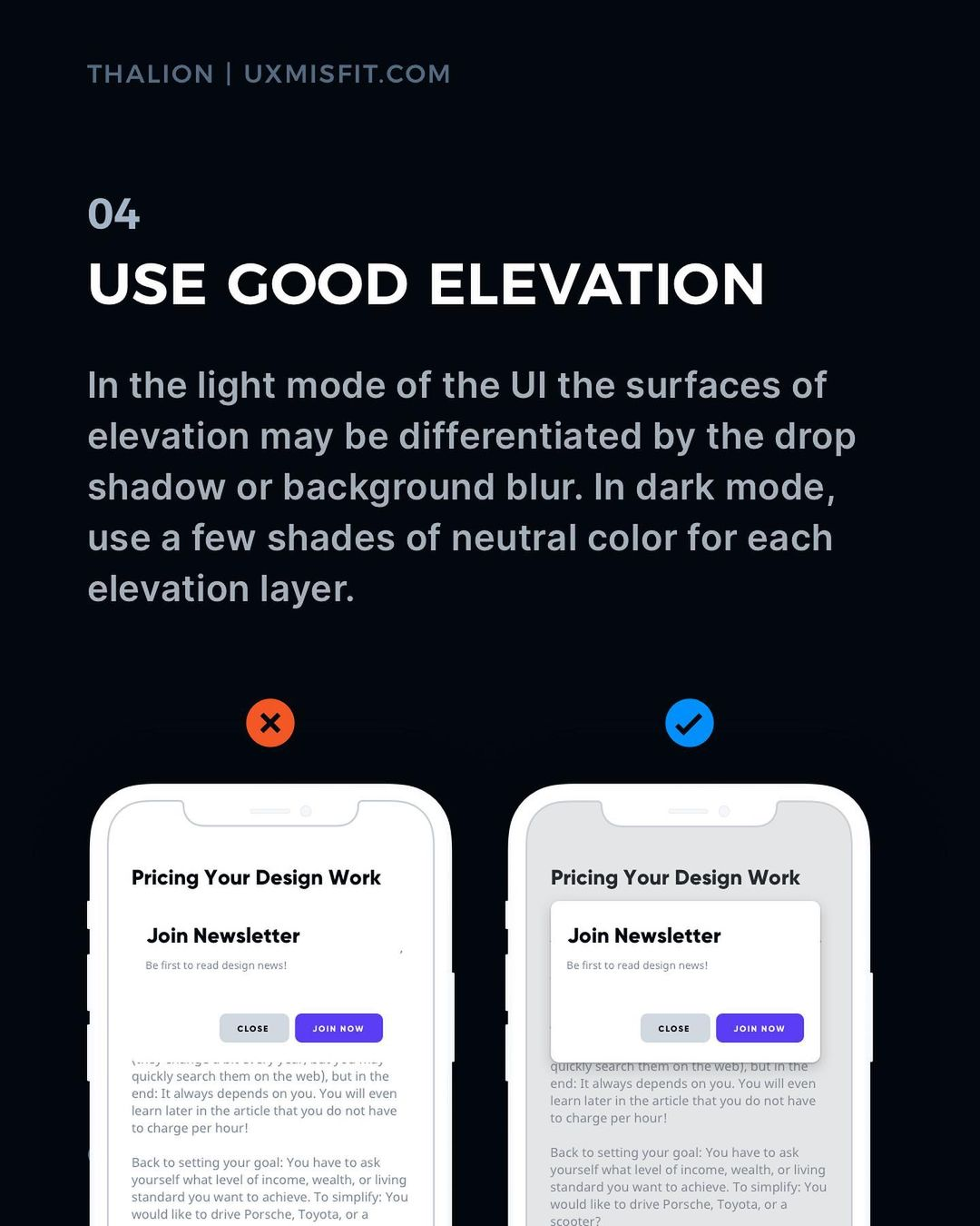 Visual Hierarchy tips - Use good elevation