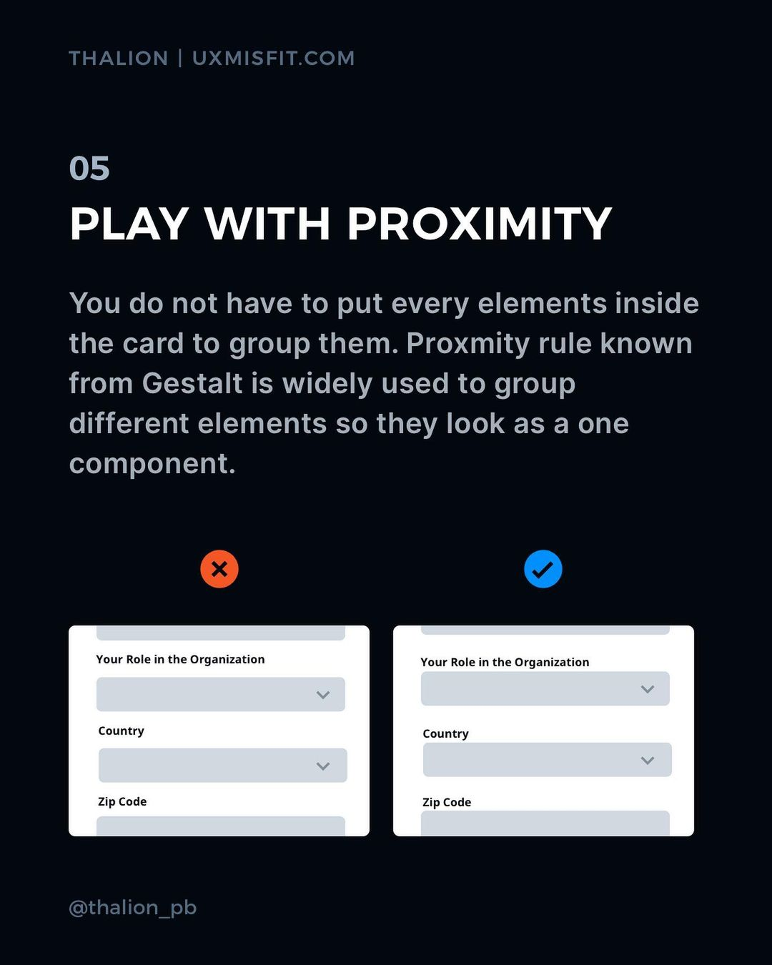 Visual Hierarchy tips - Play with proximity